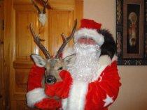 Санта Клаус со своим оленем