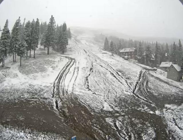 Первый снег в этом году в Карпатах