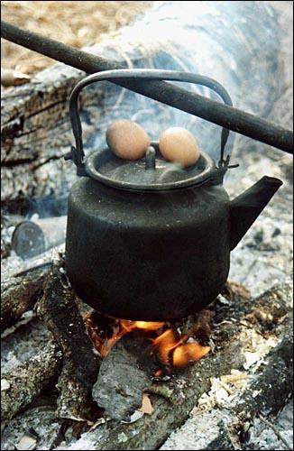 Натюрморт с яйцами. (Вятский камешек.Ноябрь-2002)