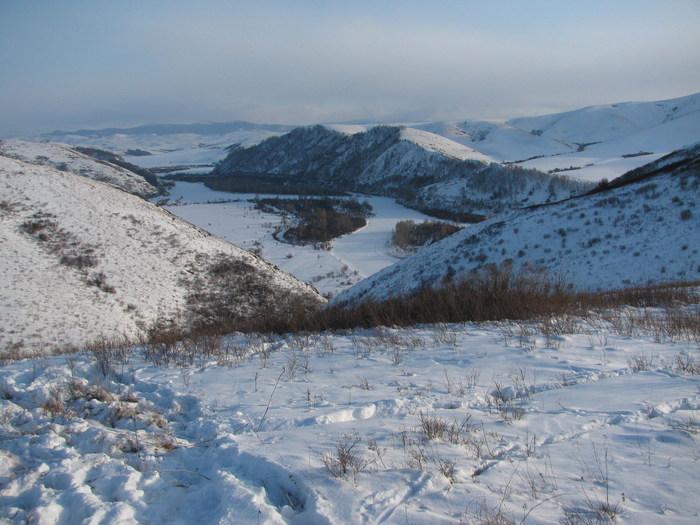 Чарыш, зимний вид сверху
