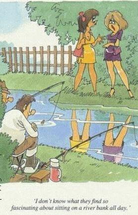 Надпись на карикатуре: Я не знаю что они находят в этом, просиживая на реке целыми днями.