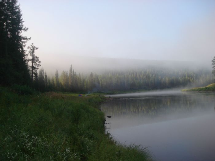 Утро, наш маленький лагерь