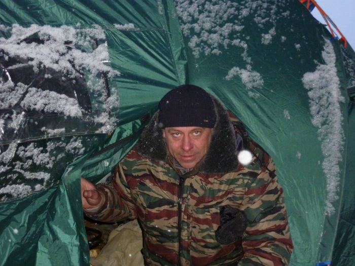 Оз. Б.Окунёвое.ТО.Утро. -15. Летняя палатка...