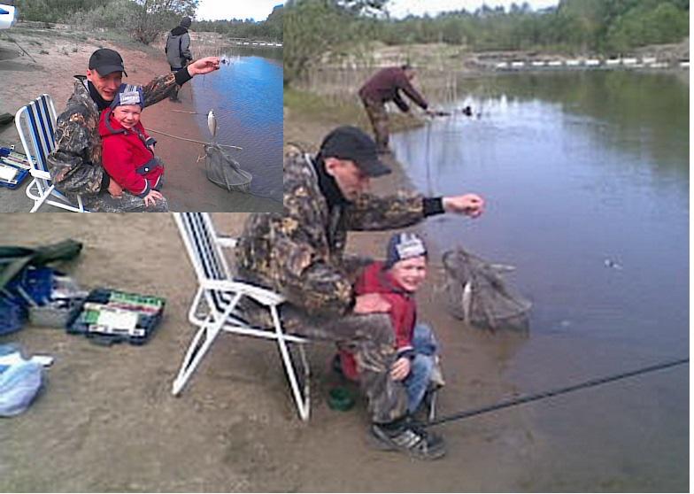Первая рыбалка внука Ильи.