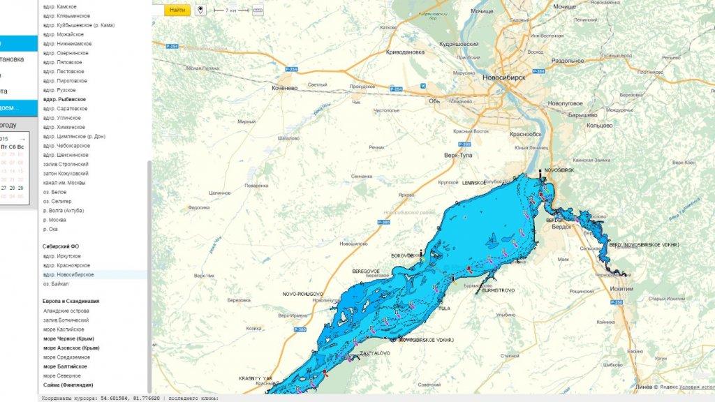 Интерактивная карта глубин Новосибирского водохранилища.