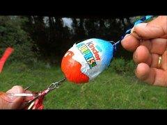 Will pike eat chocolate or Fishing wt Kinder Surprise Egg. Рыбалка: щука на шоколад