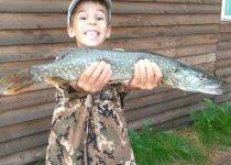 Первая рыбалка сына на спининг, с первого заброса, 1,5 кг