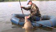 Огромный сазан чуть не перевернул лодку с рыбаком