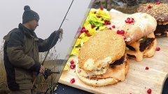 Рыбалка в январе. Готовим гамбургеры по Маррокански. Готовим на рыбалке | Рыбалка с Родионом