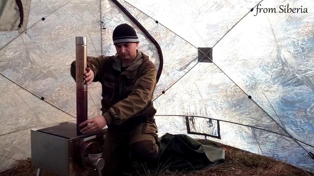 """Палатка Куб 2,20 + Печь """"Экономка малая"""" для охоты и рыбалки. Первые впечатления."""