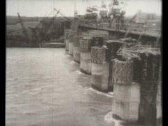 Перекрытие реки Обь при строительстве ГЭС, 1956.