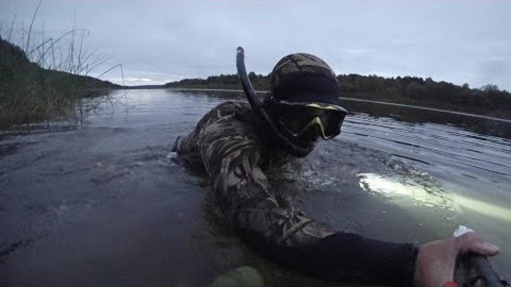 Подводная охота на реке вымь. Республика коми.