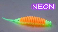 НЕОНОВЫЙ СИЛИКОН  на окуня и судака | двухцветная силиконовая приманка с люминофором