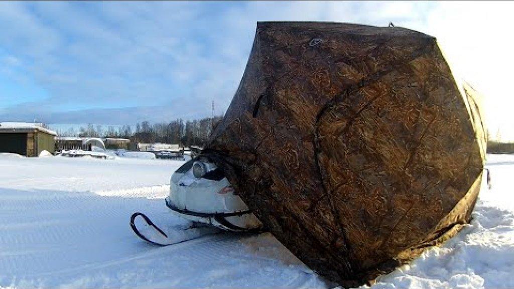 Мобильный тёплый гараж для снегохода за 5 минут.