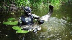 СОМ в НОРЕ. Тактика поиска СОМА на реке. Подводная охота.