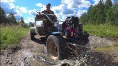 Мотоблок на ВОЛГОВСКИХ колёсах / обзор /самодельная телега для невы мб 23.