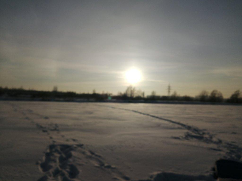 Закат в морозный день.