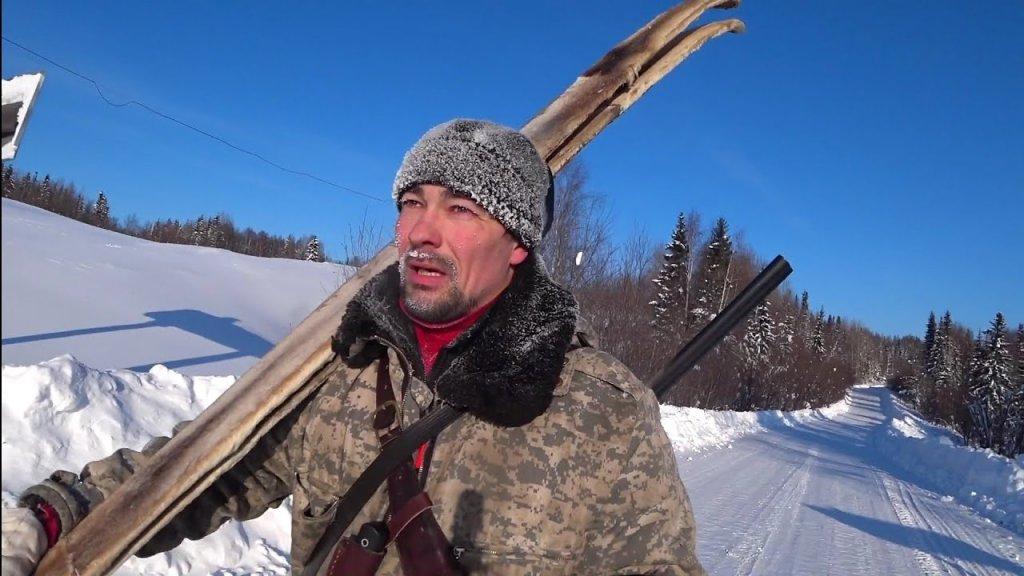 Охота на рябчика в сильный мороз / снег не держит лыжи / коми республика.