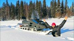Самодельный снегоход см-002 в пухляке. Настоящий проходимец. Обзор снегохода. Республика коми.