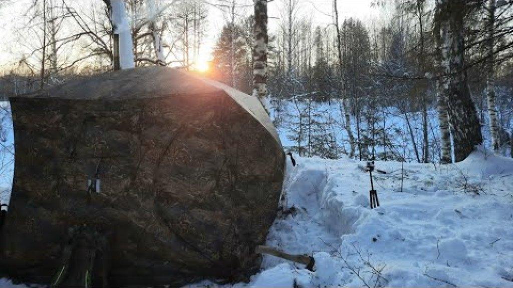 Ночевка в тайге зимой в палатке. Готовим плов из дичи!!!