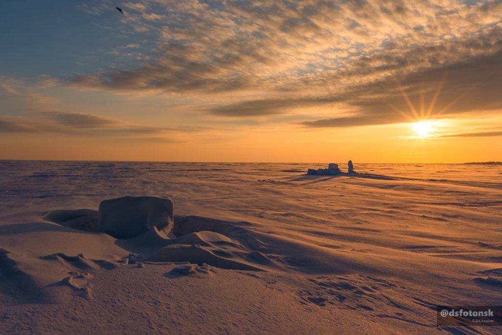Зимние ландшафты Обского водохранилища.