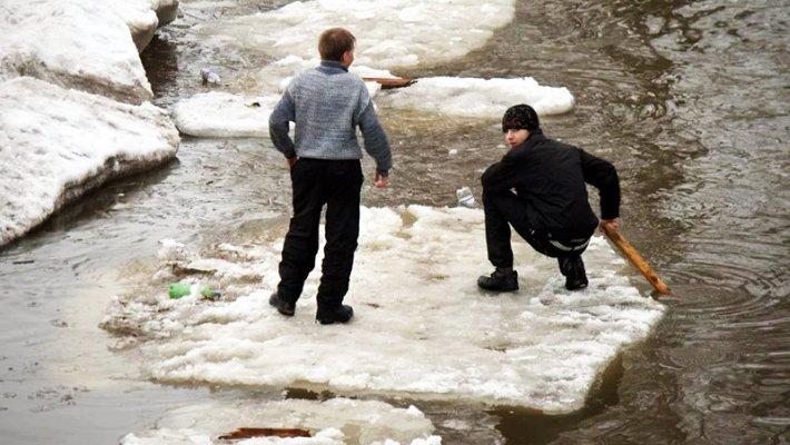 Спасатели Новосибирска сняли со льдины двух подростков
