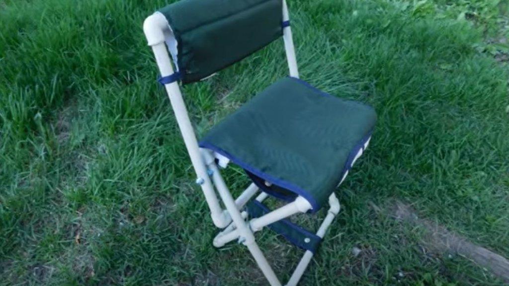 Самодельный стульчик рыбака. Из ПВХ труб. Инструкция