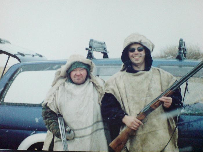 Куйбышев. Закрытие по утке (северная). Спец. комуфляж. Отец и я. Очень холодно.