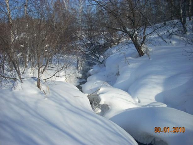 зима в этом году морозная ,но родники питающие речку не дают ей замерзнуть