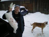 вкусный зайчик и пес молодец..