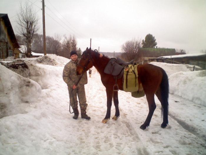 Максюта и снаряженный конь Бросок перед отъездом