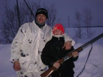 Первая охота сына.Зимой.