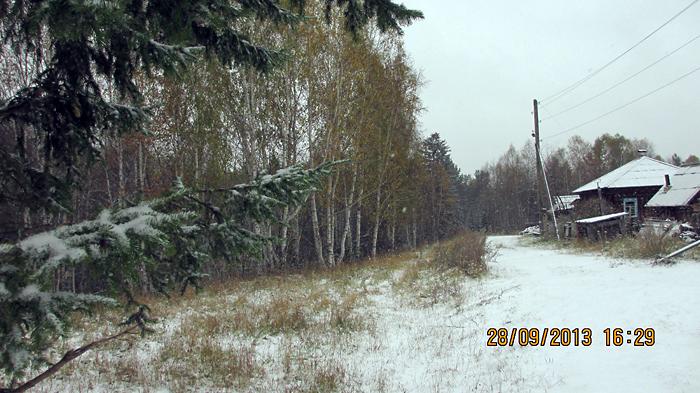 Первый снег в 130 км севернее Красноярска