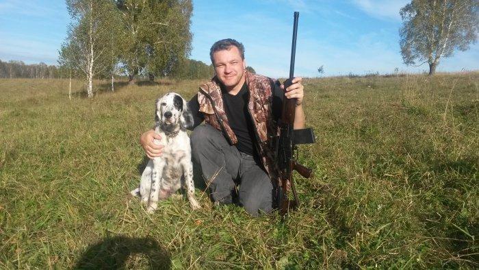 первый раз собака в поле с ружьем