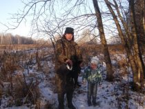 с внуком на охоте