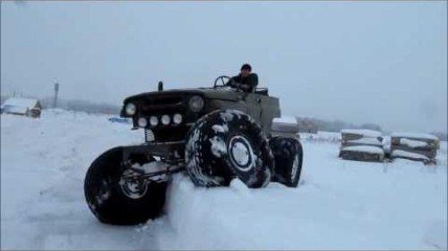 Испытания автомобиля УАЗ на шинах низкого давления  Снежная целина