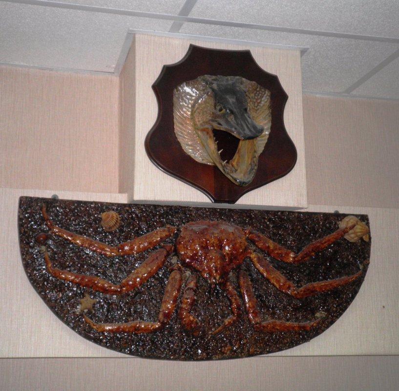 Голова щуки, камчатский краб