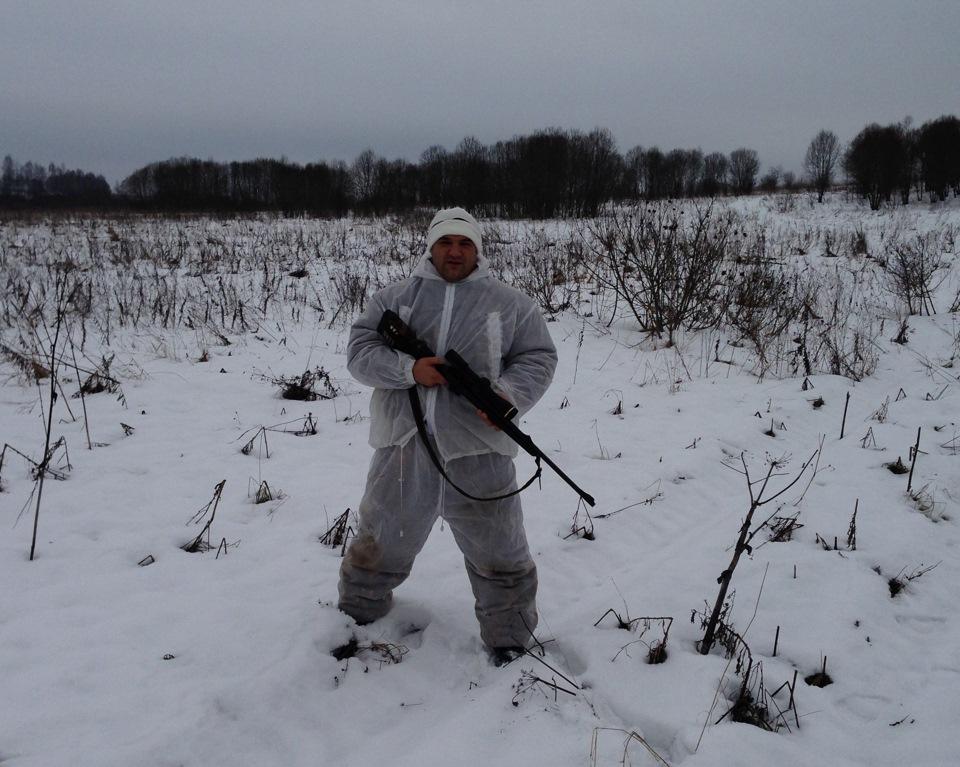 как всегда -в лесу , на охоте ))