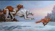 Охота на лисицу 2015-2016 с гончей и лайкой!