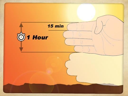Определение сколько осталось времени до заката.