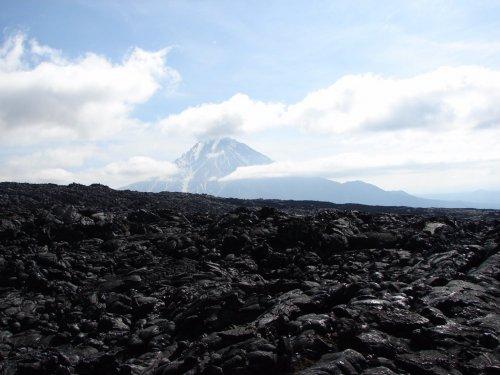 Лавовые поля - на заднем плане вулкан Большая Удина Камчатка июнь 2016
