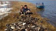 Охота на утку на озере Кыл-Атах.