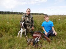 С сыном на охоте