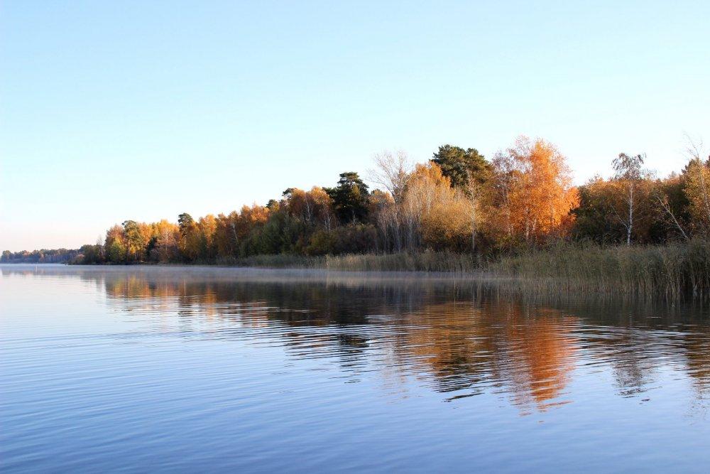 Октябрьское утро на озере.