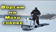 Фарсим на мотобуксировщике БТС по рыхлому снегу пухляку.