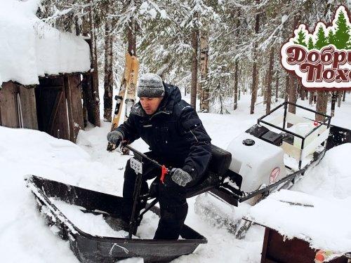ПОЕЗДКА В ЛЕСНУЮ ИЗБУ   Заготовка дров, прогулка по тайге, мотобуксировщик Ураган Волк