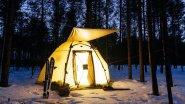 Поход в лес зимой в апреле. Новая палатка берег МФП-5