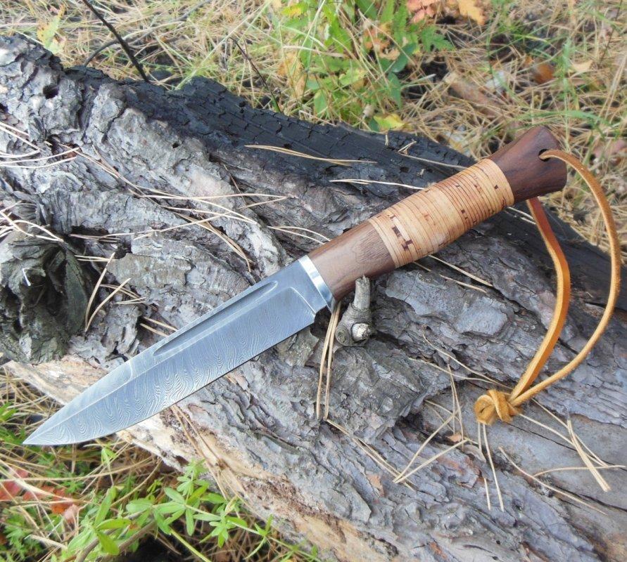 Нож Лис, дамаск - изящный и опасный)