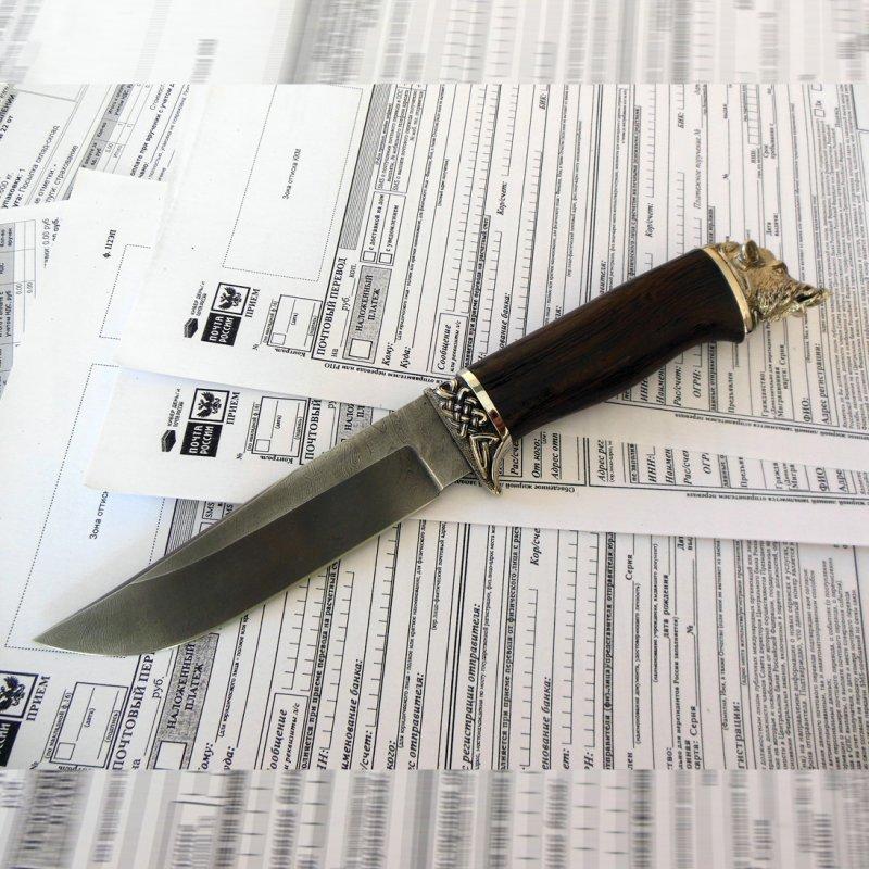 Нож Бивень, дамаск, литье из мельхиора