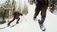 Лыжи против снегоступов в глубоком мокром плотном снегу.